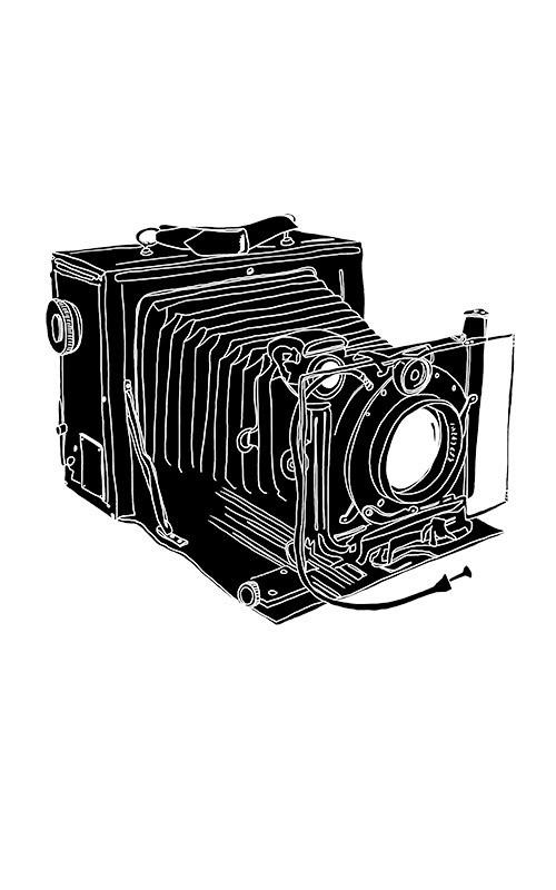 Ancien appareil photo monochrome gros plan