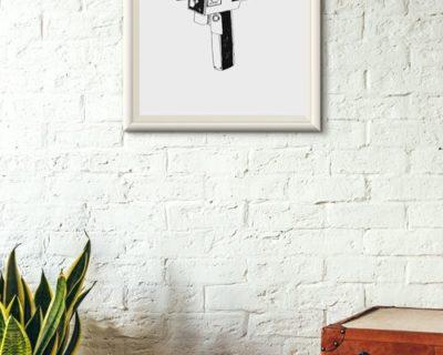 Illustration de Vieille camera mis en situation sur un mur en décoration