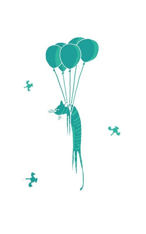Gros plan sur l'illustration décorative du chat volant