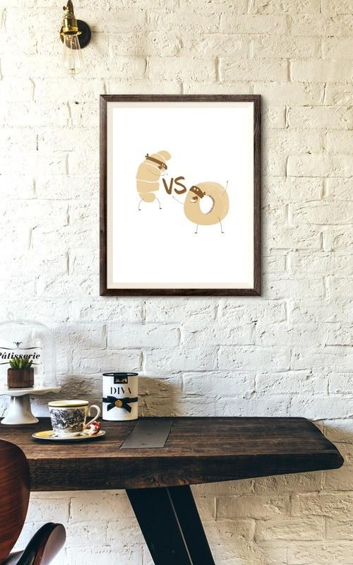 Affiche croissant vs donut decoration bichromie