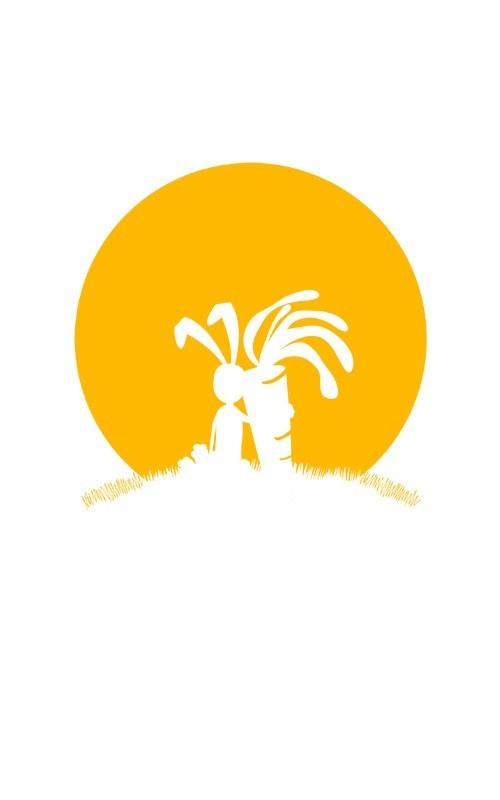 Gros plan sur le visuel monochrome lapin carotte