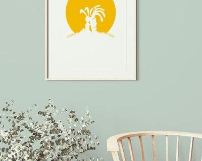 Affichage du poster risographié lapin carotte dans un salon