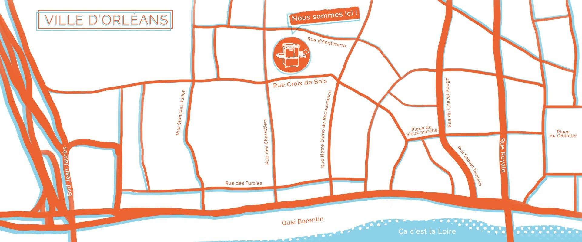 Carte d'orléans stylisée pour situer ou nous sommes installé
