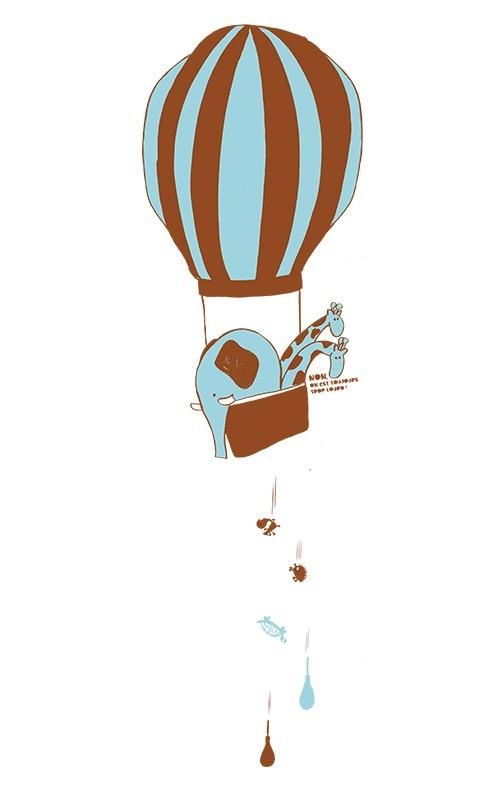 Gros plan sur l'illustration en bichromie d'une montgolfière