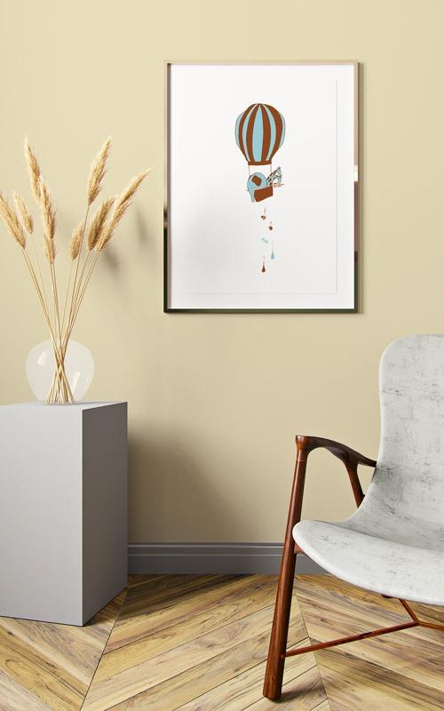 Affiche illustration Montgolfière en situation dans un salon