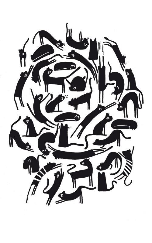 Gros plan sur l'illustration tas de chats