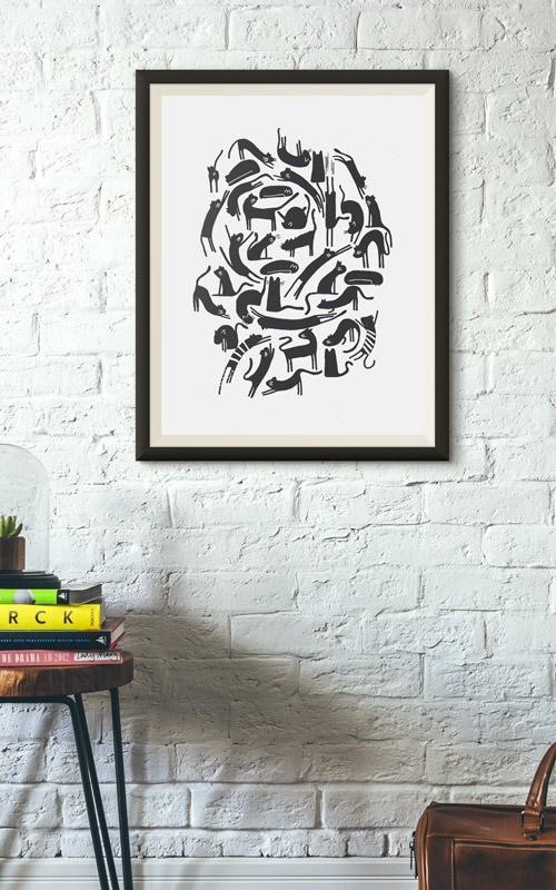 Poser affiché du visuel monochrome tas de chats illustration