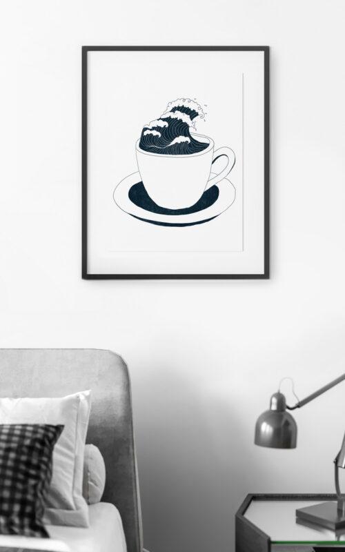 Boire la tasse, un poster en risographie de Cora