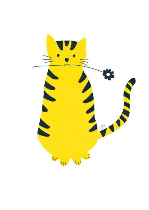 Chat en fleur, un dessin de Cora